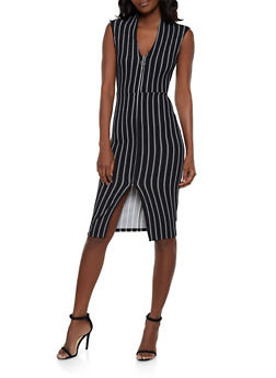 Striped Zip Front Dress - 1410015999010