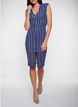 Front Zip Blue Dress