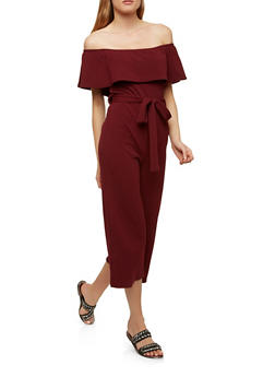 Cropped Off the Shoulder Jumpsuit - 1410015999694