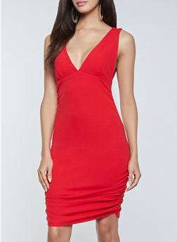Ruched Plunge Bodycon Dress - 1410038201067