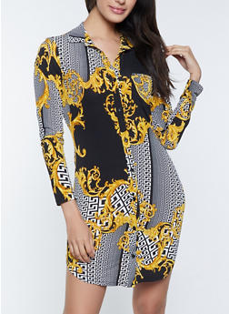 Status Print Shirt Dress - 1410054211044