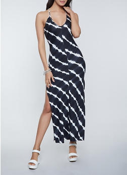 Tie Dye Side Slit Maxi Dress - 1410054211046