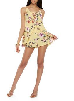 Floral Flyaway Tie Back Romper - 1410054211825