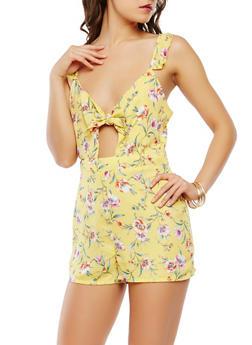 Tie Front Floral Romper - 1410054211827