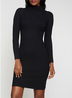 Ribbed Turtleneck Sweater Dress - 1410054212881
