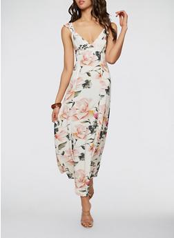 Floral Tie Back Maxi Dress - 1410054215636