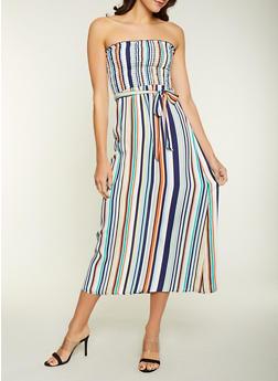 Striped Crepe Knit Maxi Dress - 1410054215682