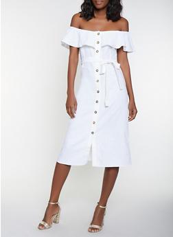 Off the Shoulder Linen Shirt Dress - 1410054215723