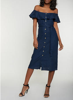 Off the Shoulder Linen Shirt Dress - 1410054215723
