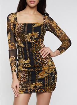 Status Print Mesh Bodycon Dress - 1410054216022