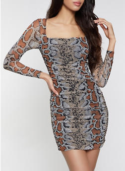 Snake Print Mesh Bodycon Dress - 1410054216023