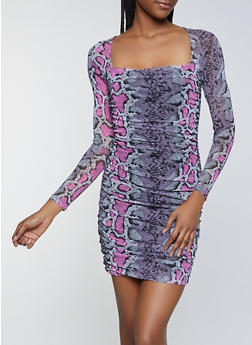 Snake Print Long Sleeve Bodycon Dress - 1410054216024