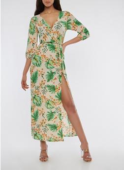 Floral Faux Wrap Maxi Dress - 1410054217362
