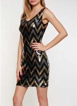Chevron Sequin Dress - 1410061351648