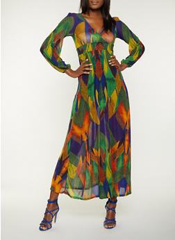 Abstract Print Mesh Maxi Dress - 1410062121789