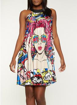 Pop Art Pleated Dress - 1410062124222