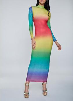 Mock Neck Tie Dye Maxi Dress - 1410062127703