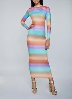 Open Back Tie Dye Maxi Dress - 1410062128097