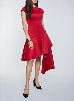 Scuba Knit Asymmetrical Dress - 1410062129632
