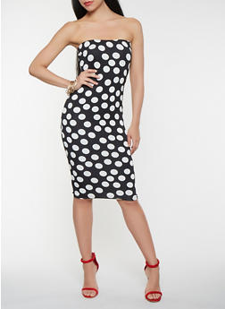 Polka Dot Midi Tube Dress - 1410062700926