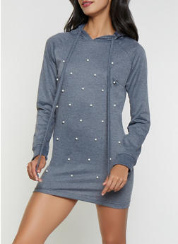 Faux Pearl Hooded Sweatshirt Dress - 1410062702377