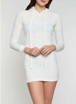 Faux Pearl Hooded Sweatshirt Dress - 1410062702377