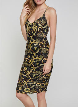 Printed Ruched Soft Knit Bodycon Dress - 1410062703162
