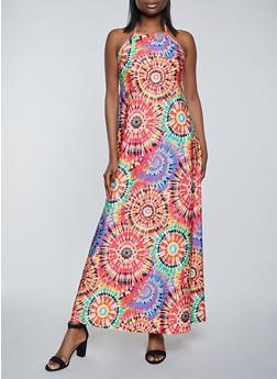 Printed Halter Maxi Dress - 1410062706294