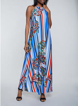 Printed Halter Maxi Dress - 1410062706294