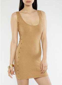 Snap Side Sweater Dress - 1410062707083