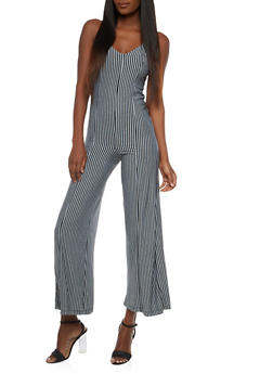 Sleeveless Striped Jumpsuit - 1410062707345