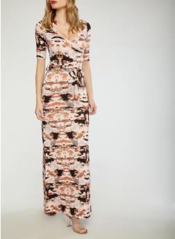 Tie Dye Faux Wrap Maxi Dress - 1410062707751
