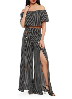 Striped Off the Shoulder Top with Palazzo Pants - BLACK - 1410062708016