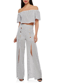 Striped Off the Shoulder Top with Palazzo Pants - WHITE - 1410062708016