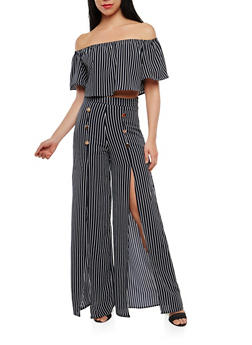 Striped Off the Shoulder Top with Palazzo Pants - NAVY - 1410062708016