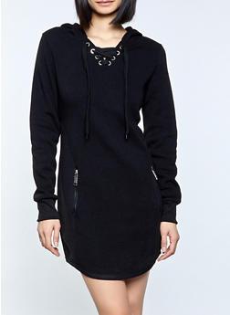 Hooded Moto Sweatshirt Dress - 1410063404787