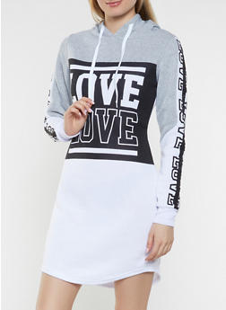 Hooded Love Sweatshirt Dress - 1410063408104
