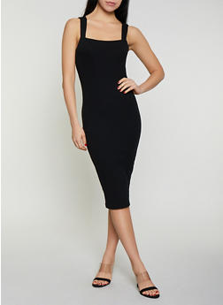 Rib Knit Midi Bodycon Dress - 1410066490500