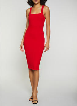 Rib Knit Midi Bodycon Dress - 1410066490500