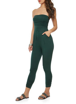 Strapless Ruched Jumpsuit - 1410066491643