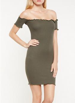 Ribbed Knit Off the Shoulder Dress - 1410066491781