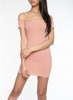 Ribbed Knit Off the Shoulder Dress - 1410066491781