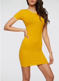 Varsity Stripe Trim Dress - 1410066491907