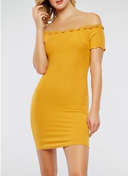 Off the Shoulder Mesh Trim Dress - 1410066492382