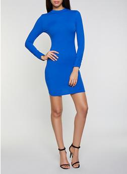 Soft Knit Mock Neck Bodycon Dress - 1410066492975