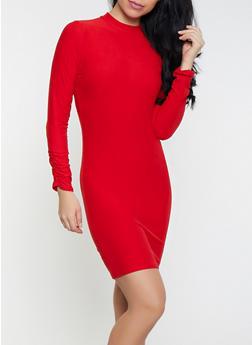 Mock Neck Bodycon Dress - 1410066492976