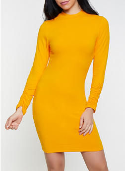 Mock Neck Bodycon Dress - 1410066492976