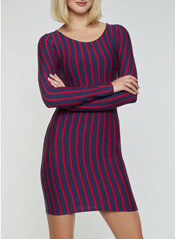 Long Sleeve Striped Bodycon Dress - 1410066493127