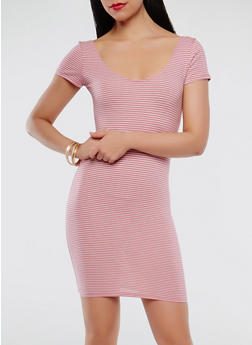 Striped Bodycon Dress - 1410066493256