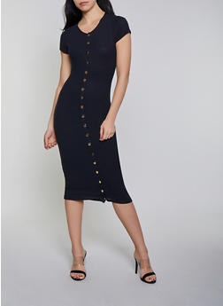 Button Front Ribbed Bodycon Dress - 1410066493269